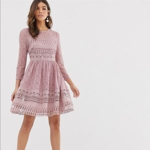 NWT ASOS Design Premium lace mini skater dress
